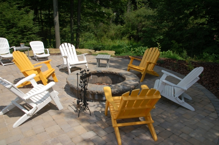 Firepit with Colorful Adirondack Seating
