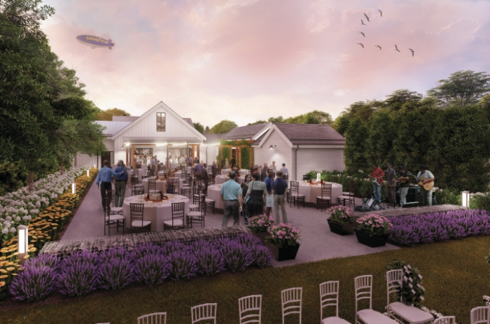 Outdoor event patio and ceremony site