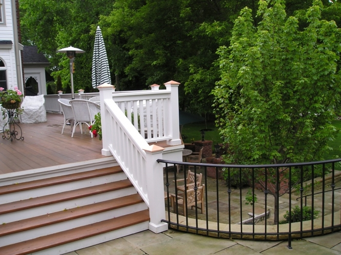 Custom Cedar Railing with Wrought Iron Safety Rail