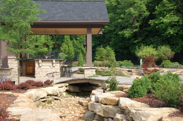 Dry Creek Bed with Low Profile Garden Bridge