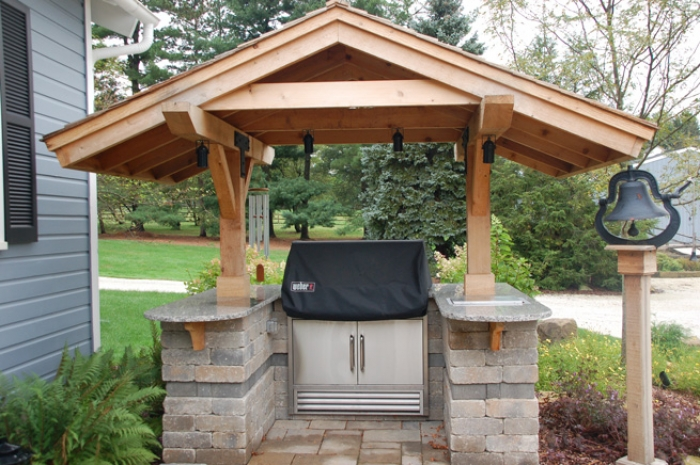 Protected Grill Area of Granite, Cedar & Wall Stone