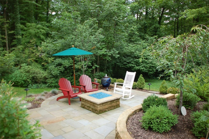 A view of the lower patio & firetable looks very inviting.