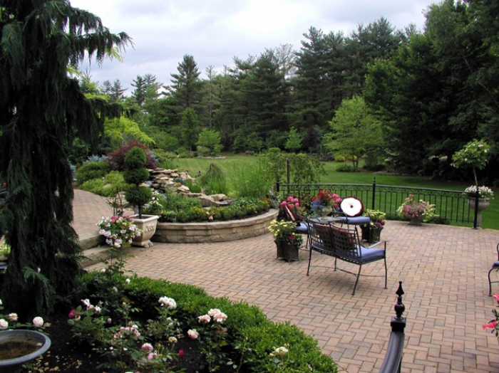 Main Backyard Patio with Waterfeature and Property Border Gardens in the Background