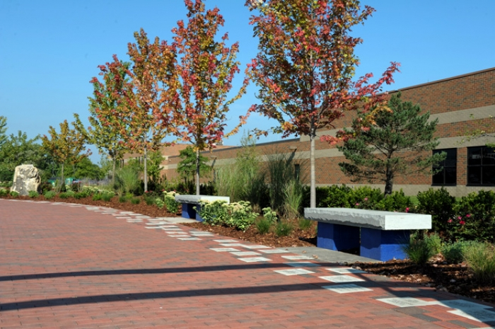 Memorial Walkway with Engraved Paver Donor Border & Plantings