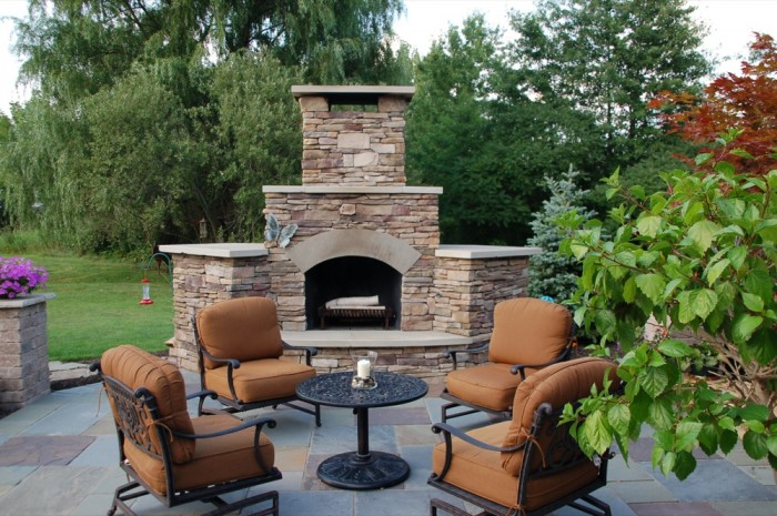 Outdoor Fireplace with Chat Table Seating