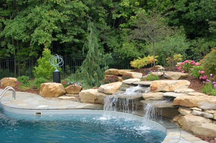 Waterfall and Pool with Armillary Sundial & Pedestal