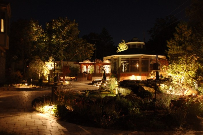 12 Volt Lighting Highlighting the Outdoor Kitchen, Gazebo, Water Feature, and Specimen Plants