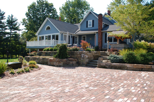 Antique road brick driveway, Barnstone Retaining Wall With Heating System