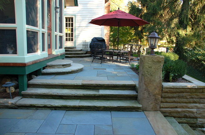 Antique Sandstone Steps, Retaining Wall & Column With Exterior Lighting