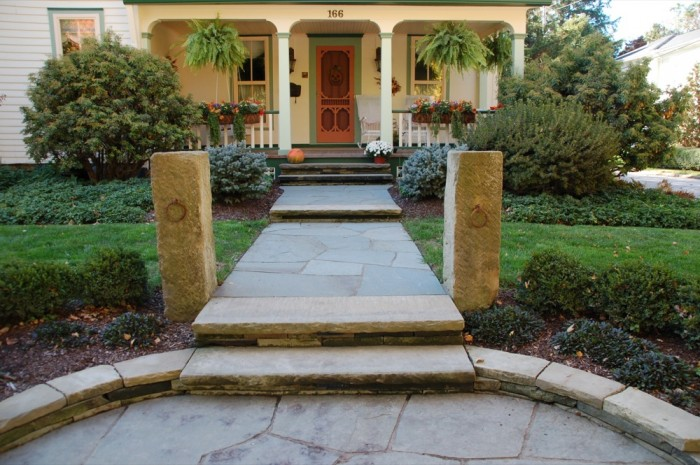 Front Entrance, Walkway with Barnstone Hitching Posts