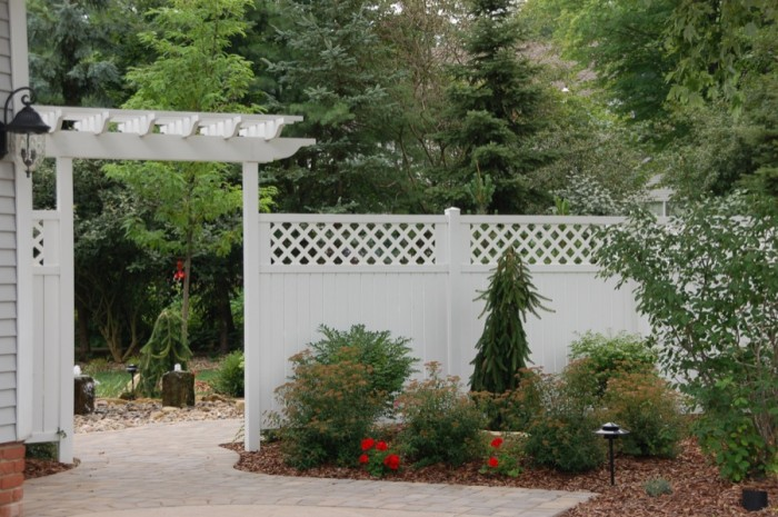Privacy Fence & Arbor with Plantings