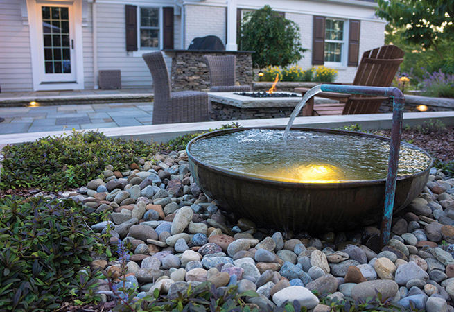 This custom-built copper waterfeature.