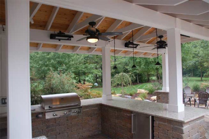 Detail of Shade Structure Ceiling with Granite Countertop, Electric Heating Elements& Fan
