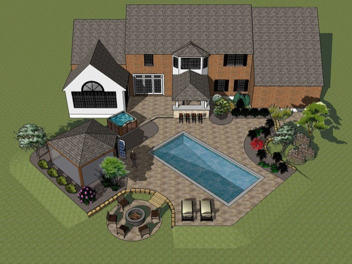 Overhead Plan View of Outdoor Living Space