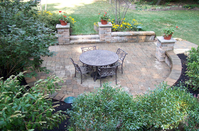 Overhead Look at Dining Patio with Courtyard Wall & Columns