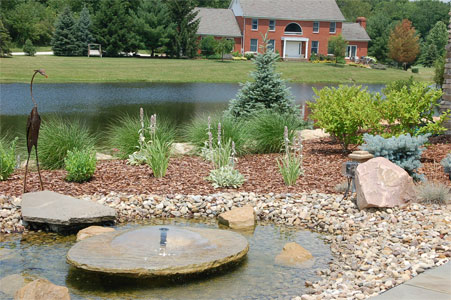 Front Entrance Waterfeature and Perennial gardens